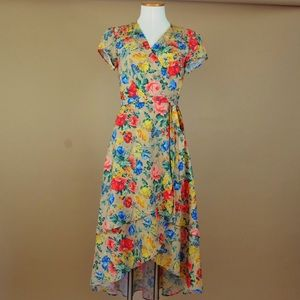Wayf Floral Wrap Dress Layered High Low